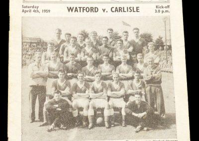 Carlisle v Watford 04.04.1959