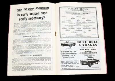 Middlesbrough v Walsall 12.09.1962