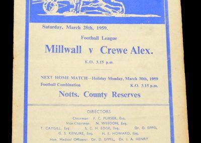 Crewe Alexandra v Millwall 28.03.1959