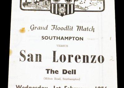 Southampton FC v San Lorenzo 01.02.1956