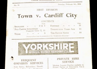 Huddersfield Town AFC v Cardiff City 04.02.1956