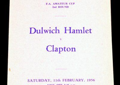 Dulwich Hamlet v Clapton 11.02.1956