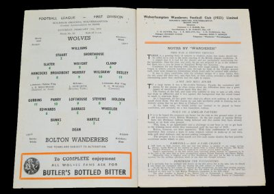 Wolverhampton Wanderers v Bolton Wanderers 11.02.1956