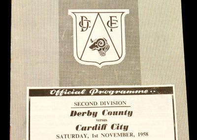 Derby County v Cardiff City 01.11.1958