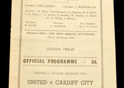 Scunthorpe United v Cardiff City 18.12.1958