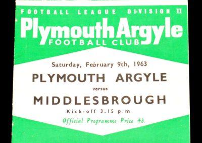 Plymouth Argyle v Middlesbrough 09.02.1963