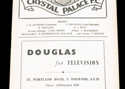 Crystal Palace FC v Reading 30.03.1956