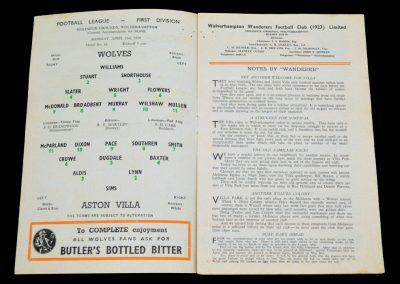 Wolverhampton Wanderers v Aston Villa 02.04.1956