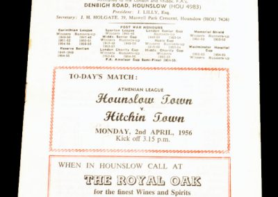 Hounslow Town v Hitchin Town 02.04.1956