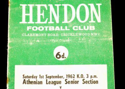 Hendon FC v Enfield 01.09.1962
