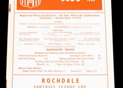 Southampton FC v Rochdale 22.09.1965