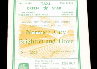 Norwich City v Brighton and Hove 14.04.1956