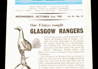 Tottenham Hotspur v Glasgow Rangers 31.10.1962 | Euro Cup Winners Cup 1st Round