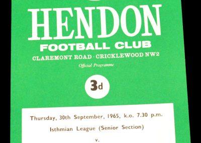 Hendon v Sutton United 30.09.1965