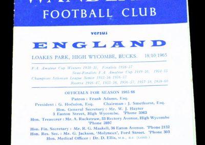 Wycombe Wanderers v England 18.10.1965 | Amateur