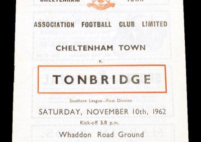 Cheltenham Town v Tonbridge 10.11.1962