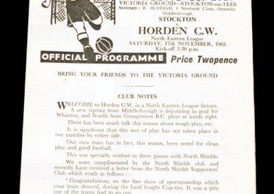 Stockton FC v Horden CW 17.11.1962