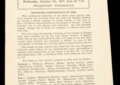 Football League v Irish League 09.10.1957