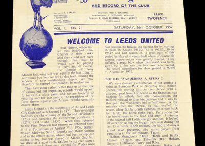 Tottenham Hotspur v Leeds United 26.10.1957