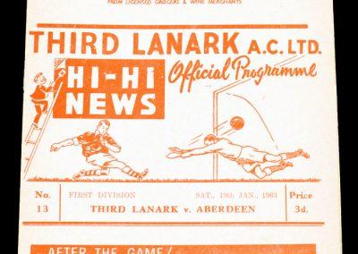 Third Lanark AC v Aberdeen 19.01.1963