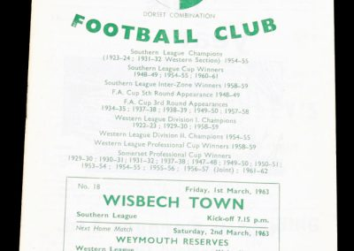 Yeovil Town v Wisbech town 01.03.1963