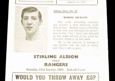 Stirling Albion v Rangers 22.01.1966
