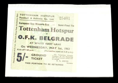 Tottenham Hotspur v OFK Belgrade 01.05.1963 | Euro Cup Winners Cup Semi Final 2nd Round + Ticket