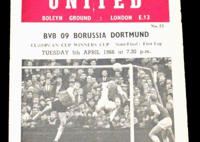 West Ham United v Borussia 05.04.1966 | Euro Champion Winners Cup Semi Final 1st Round