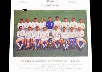 Tottenham Hotspur Euro Cup Winners Cup Winners 1962 - 1963