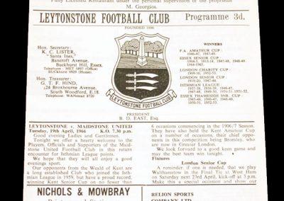 Leytonstone FC v Maidstone 19.04.1966