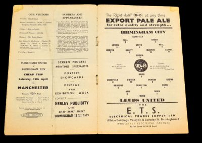 Birmingham City v Leeds United 12.04.1958