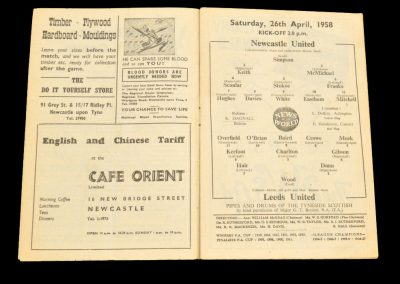 Newcastle United v Leeds United 26.04.1958