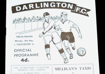 Darlington FC v Colchester 16.05.1966