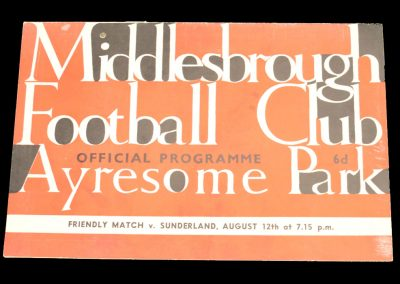 Middlesbrough FC v Sunderland 12.08.1964 | Friendly