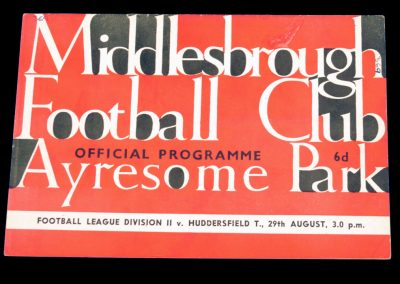 Huddersfield Town v Middlesbrough 29.08.1964
