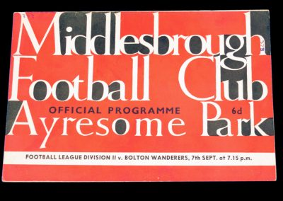 Bolton Wanderers v Middlesbrough 07.09.1964