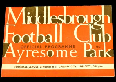 Cardiff City v Middlesbrough 12.09.1964