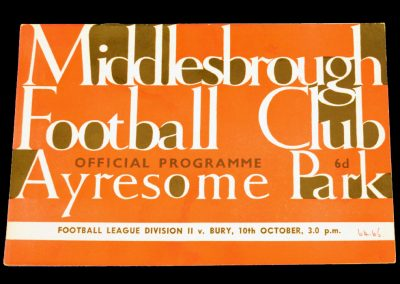 Bury v Middlesbrough 10.10.1964