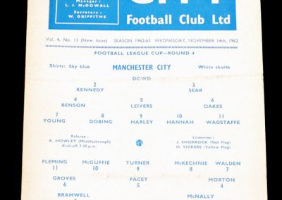 Luton Town v Manchester City 14.11.1962 | League Cup 4th Round