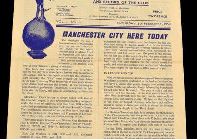 Tottenham Hotspur v Manchester City 08.02.1958