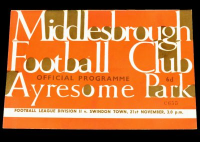 Swindon Town v Middlesbrough 21.11.1964