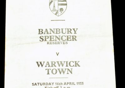 Banbury Spencer Reserves v Warwick Town 16.04.1955