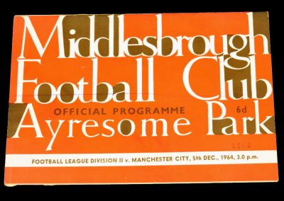 Manchester City v Middlesbrough 05.12.1964