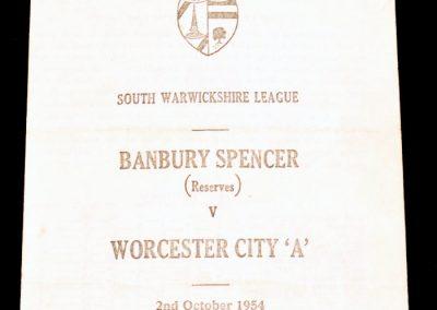 Banbury Spencer (reserves) v Worcester City A 02.10.1954