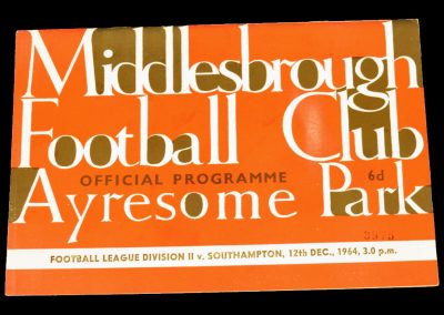 Southampton v Middlesbrough 12.12.1964