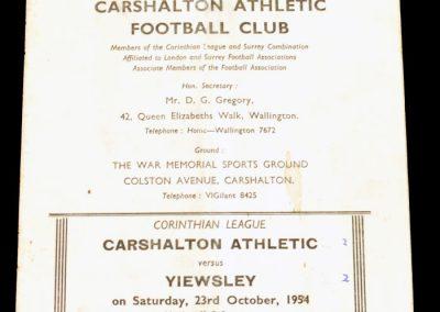 Carshalton Athletic v Yiewesley 23.10.1954