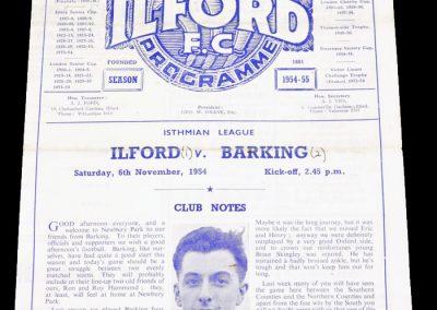 Ilford v Barking 06.11.1954