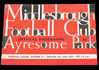 Preston North End v Middlesbrough 23.01.1965