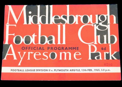 Plymouth Argyle v Middlesbrough 13.02.1965