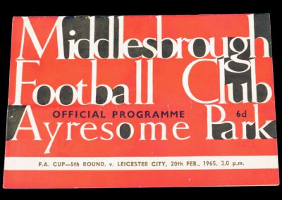 Middlebrough v Leicester City 20.02.1965 | FA Cup 5th Round